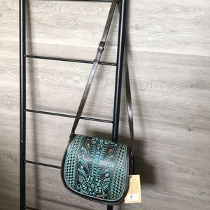 NWT-Patricia Nash Tooled Turquoise Leather Bag